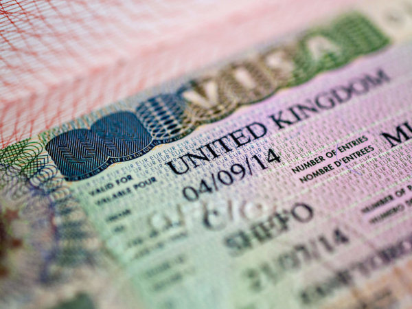Close up UK visa in passport