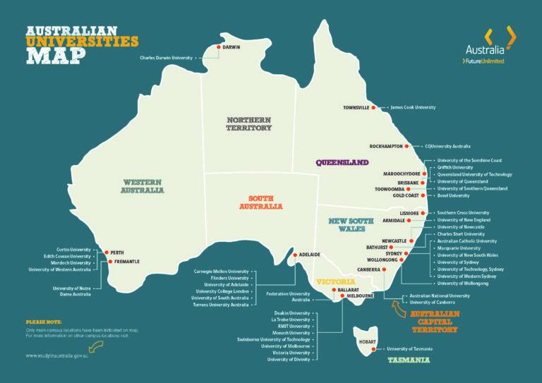 澳洲大學分布圖